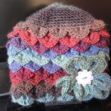 Crochet hat, Young Teen Crochet hat, Crocodile Stitch Crochet Hat.