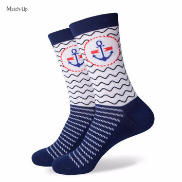 Girl Combed Cotton Socks Women Funny Cotton Anchor Socks