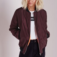 Missguided - Padded Bomber Jacket Oxblood
