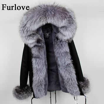Womens Winter Jacket Women Coat Jackets Natural Real Fox Fur Collar Hooded Coats Casual Vintage Warm Thick Parka Black Parkas