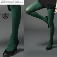 120 Den Opaque Tights Legging Pantyhose FORREST GREEN on eBay!