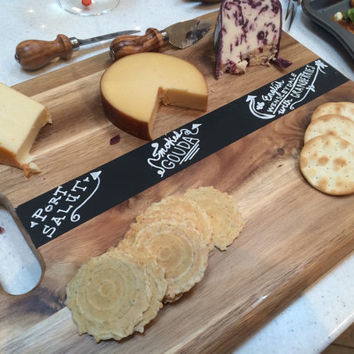 Chalkboard labels Acacia wood chopping block cutting board serving tray cheese platter cheese board handle label food on chalk board sign