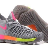 DCCKIJ2 Nike Men's Durant Zoom KD 9 Flyknit Mid-High Basketball Shoes Grey Pink