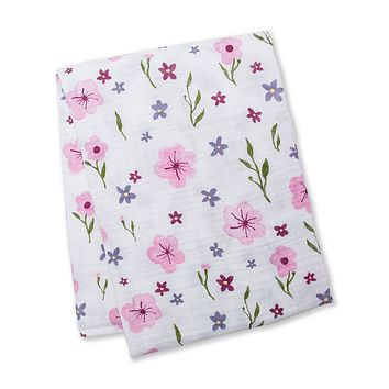 Watercolor Floral Cotton Swaddle Blanket