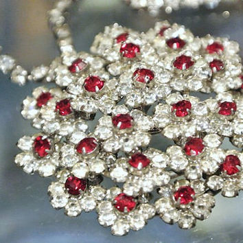 Antique Necklace Rhinestones Paste Glass Ruby Red Pave White Diamond 1940s 40s High Fashion Hollywood Regency Tier Cluster Multi Level Dome