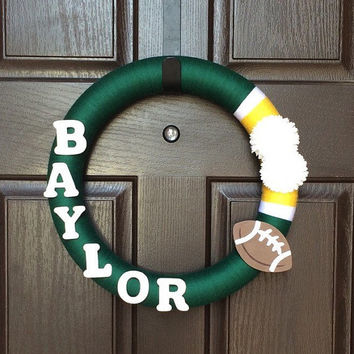 Baylor University Wreath, Baylor Bears Wreath, Baylor Wreath, Green and Yellow Yarn Wreath, Yarn Wreath, College football wreath