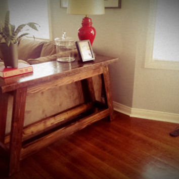 One of a kind reclaimed wood sofa or console table.   Farmhouse rustic