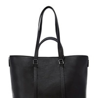FOREVER 21 Side-Zip Faux Leather Tote