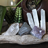 YOGA Set w/ x3 Selenite Crystals, Amethyst Cluster, Raw Hematite, Quartz Point, Healing Stones, Meditation, Metaphysical, Pagan Supplies