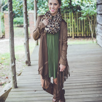 Fringe Suede Jacket in Brown