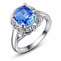 Fashion Blue Big Crystal Diamond 316L Stainless Steel Lady  Ring Women Engagement Wedding Band Bride Rings Vintage Jewelry Party Gifts
