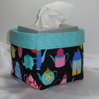 Adorable Teapot Fabric Basket