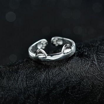 Women's Elegant 925 Sterling Silver Dragon Cat Rings Gothic Genuine Evening Party Knuckle Ring