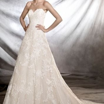 Pronovias Onia Strapless Lace Gown (In Stores Only) | Nordstrom