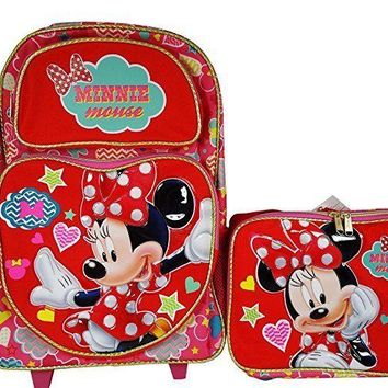 "Disney Minnie Mouse Pretty Thing 16"" Rolling Backpack and Lunch bag Combo set"