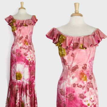 60s PINK Hawaiian DRESS / 1960s Watercolor FLORAL Ruffled Holomuu M