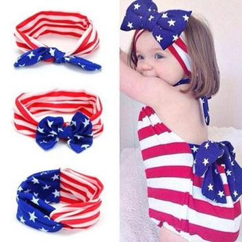 1 Pc European And American Popular American Flag Children Cross Bow Headband With The Baby Atrq0772