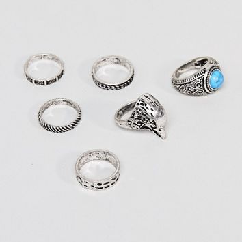 ASOS DESIGN Chunky Ring Pack With Eagle And Stones In Burnished Silver at asos.com