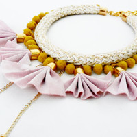 Statement Necklace with pink suede petals, white cord and mustard pom-pom