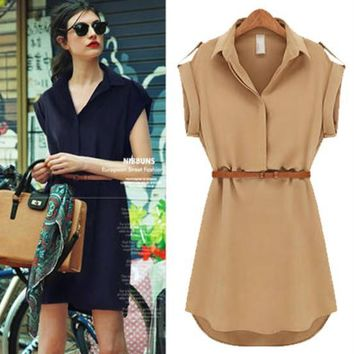 Womens Dress European and American Short Sleeved Loose Shirt Skirt Large Size Slim Women Chiffon Dress 3 Color Asian Size S-2XL