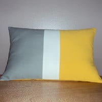 18x12 Modern Color Block Lumbar Pillow Cover In Gray Yellow and White