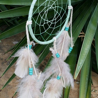 Small Dream Catcher, Handmade 5 Inch, Mint Green White Feathered Wall Hanging Art, Gift for Teen Girls, Traditional Native American Decor