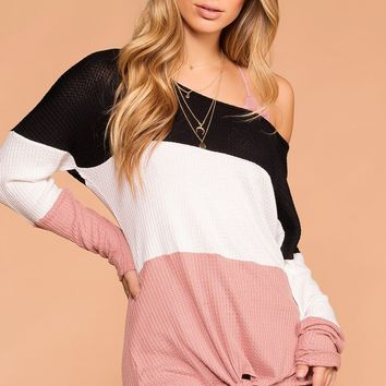 Sabrina Black and Mauve Color Block Waffle Knit Tie-Front Top
