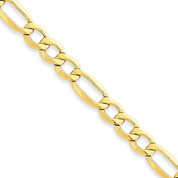 Men's 7.3mm, 10k Yellow Gold Hollow Figaro Chain Bracelet, 8 Inch