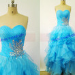 Long blue tulle prom dresses with crystals in 2014,cute sweetheart bridesmaid gowns hot,chic floor length dress for holiday party.