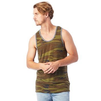 Alternative Apparel - Marine Printed Eco Jersey Camouflage Green Small Tank Top