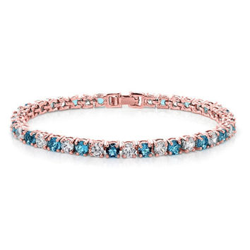 10.00ctw Round Blue And White Color CZ Rose Gold Plated Tennis Bracelet 7""