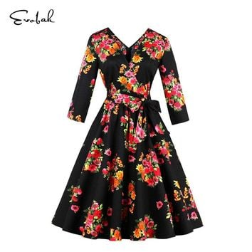 Women Dress Retro Vintage 50s Party Swing Dresses 3/4 Sleeve Floral Slim A-Line Dress Sexy Deep V Neck Dress Ladies