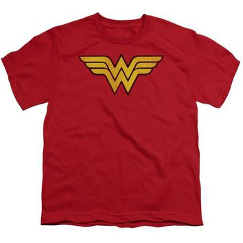DCCKM83 Wonder Woman Logo Dist Short Sleeve Youth 18/1