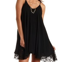 Black Lace Trim Trapeze Dress by Charlotte Russe