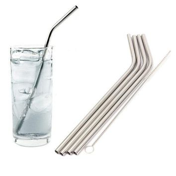 DCCKL72 New 4 Pcs Straight Stainless Steel Drinking Straws For Yeti 30oz Tumbler With 1 Pc Cleaning Cleaner Brush