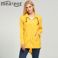 Meaneor Fashion Dot Print Raincoats Women Waterproof Jackets Fishtail Hooded Autumn Casual Jacket Rain Coat Windbreaker
