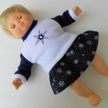 "American Girl Bitty Baby 15"" Doll Clothes White Sweatshirt 2oc embroidered Navy Blue White Snowflake Skirt Christmas Winter Holiday"
