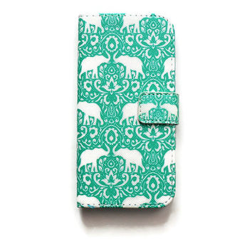 iPhone 6 Wallet Case Elephant iPhone 6 Wallet Boho iPhone 6 Wallet Damask Floral Elephants W311