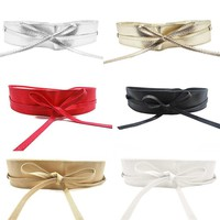 Soft Faux Leather Wide Belt