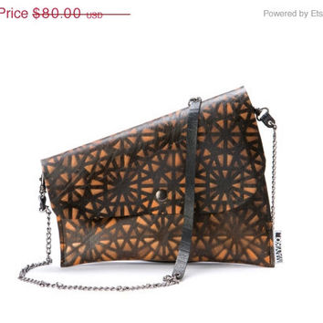 Small crossbody bag, Evening bag, Recycled inner tube, Printed bag in orange and black, Geometric