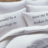 The Fault In Our Stars Inspired,it would be a pleasure, His and Her Pillowcase set, pillow case set,couples pillowcase