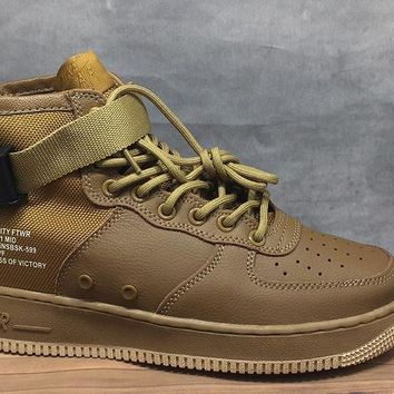 LMFON Nike Air Force 1 Mid 30 Year Khaki For Women Men Running Sport Casual Shoes Sneakers