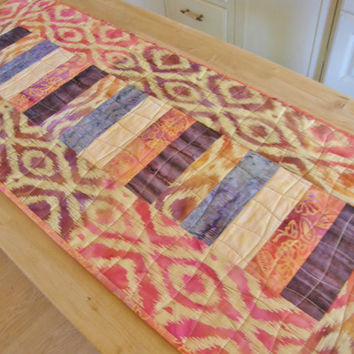 Summer Quilted Table Runner - Ikat Batik