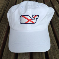 Vineyard Vines Twill Hat with Alabama State Flag Whale - The Shirt Shop - The Shirt Shop Tuscaloosa's store for Elephant Wear and Game Day Apparel