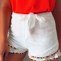 Summer Party Shorts: White/Multi
