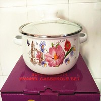 CASSEROLES ENAMEL COOKING POT STOCK / SOUP UTENSIL CERAM KITCHEN TOOL COOKWARE