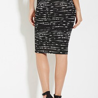 Contemporary Abstract Striped Bodycon Skirt