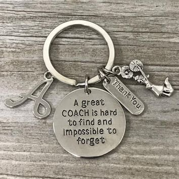 Personalized Cheer Coach Keychain with Letter Charm