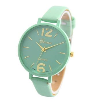 Women Bracelet Watch Geneva Famous brand Ladies PULeather Analog Quartz Wrist Watch Clock Women relojes mujer 2018 masculino