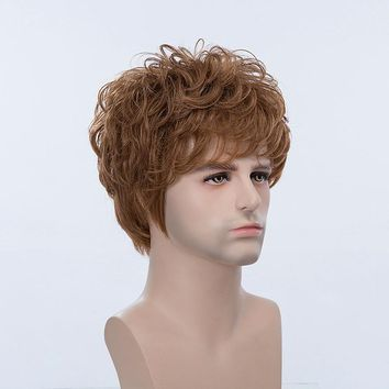 Short Brown Man Curly Human Hair Wigs Short Mono Top Male Virgin Remy Capless Side Bang